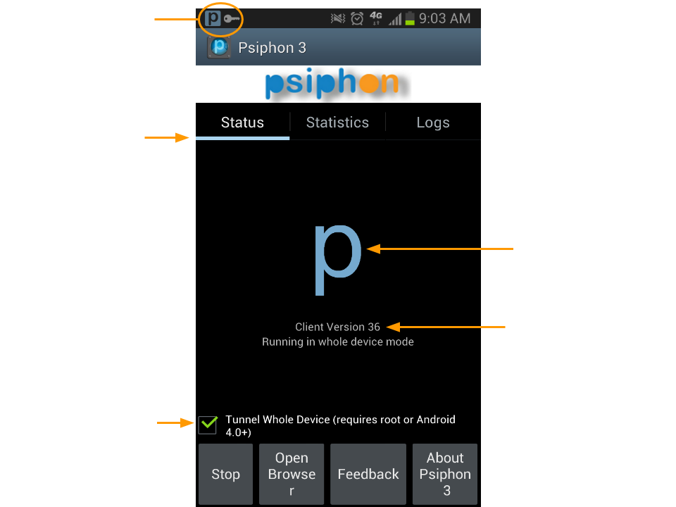Screenshot of Psiphon for Android showing the status panel